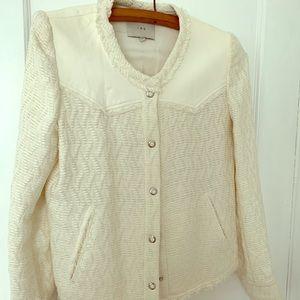 I R O cream blazer with fine leather